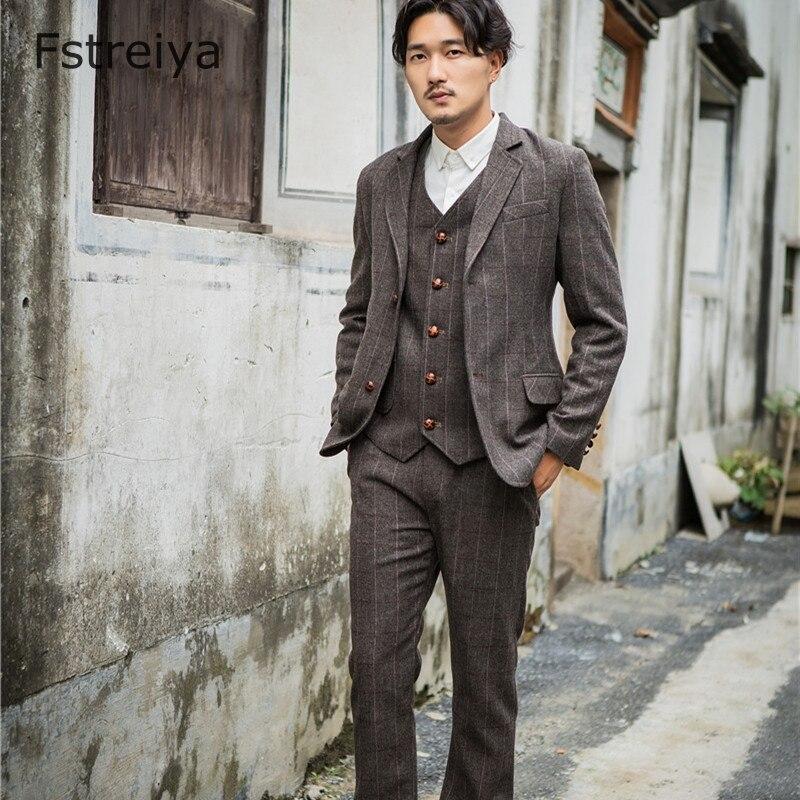 Hommes sur mesure coupe ajustée costumes personnalisés hommes manteau vêtements sur mesure gentleman tweed costume coustume homme hommes veste pantalon gilet