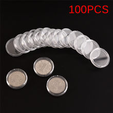 100Pcs/Lot 27mm Small Round Transparent Plastic Coin Capsules Case(China)