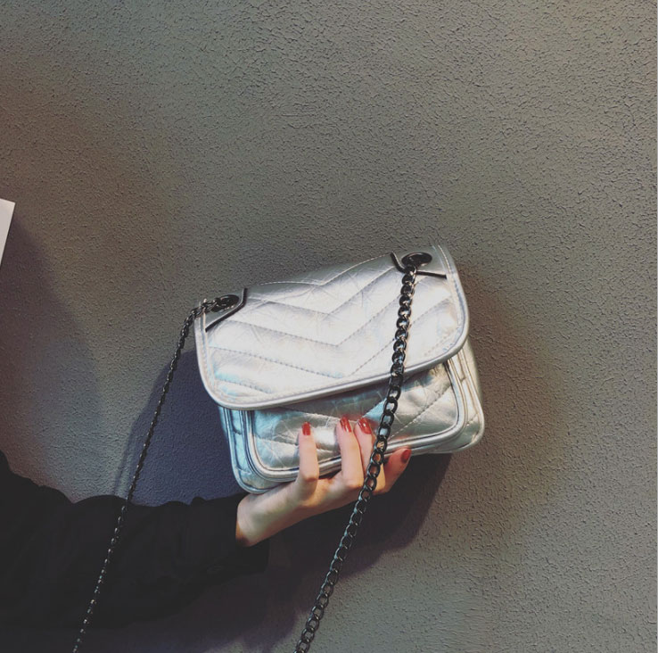 Nouveau Version Style Incliné Soleil Doux Cuir 2019 Ins Overfire Baitao Bagages Simple En Chaîne silvery Coréenne Chic Black Fille wWgzqXf4