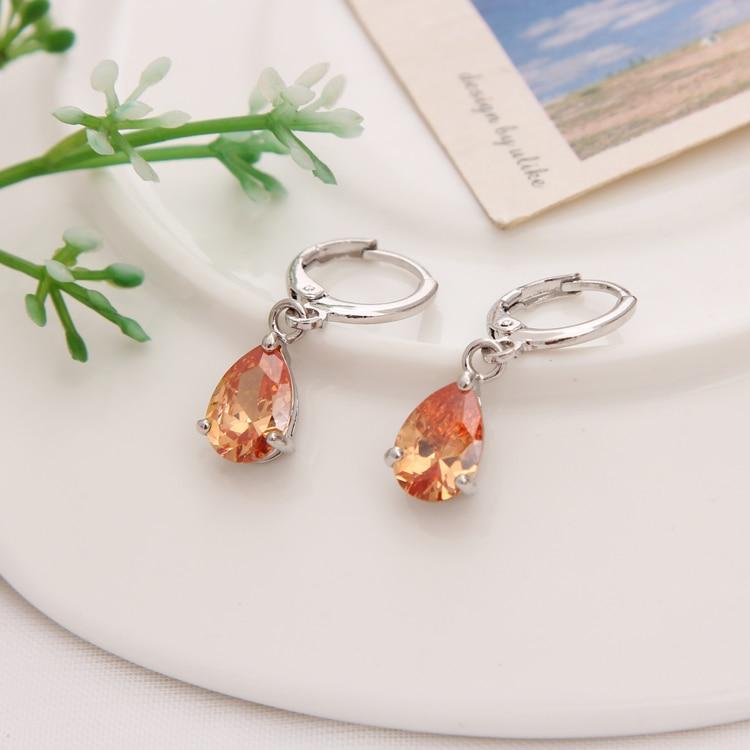 Gold Color Earrings Green Water Drop CZ Stone Pierced Dangle Earrings Women/Girls Long Drop Earrings fashion jewelry 24