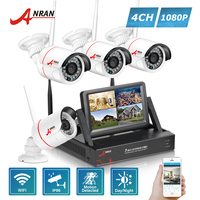 ANRAN Plug And Play P2P LCD Monitor 4CH HD NVR 1080P Outdoor 24 IR Wireless IP