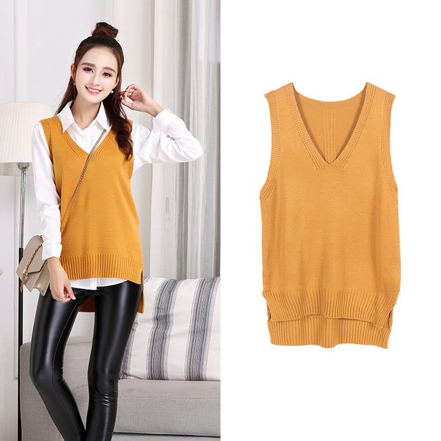 3b7faa7d0eec Autumn vest woman V-neck girl clothing knited womans sweater fashion preppy  style design sleeveless
