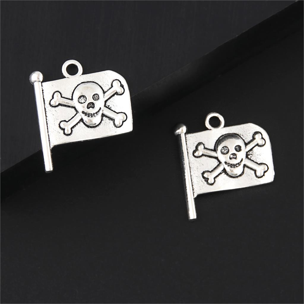 Flag Charms Halloween-Settings Bracelet Diy-Accessories Pendant-Making Antique Silver