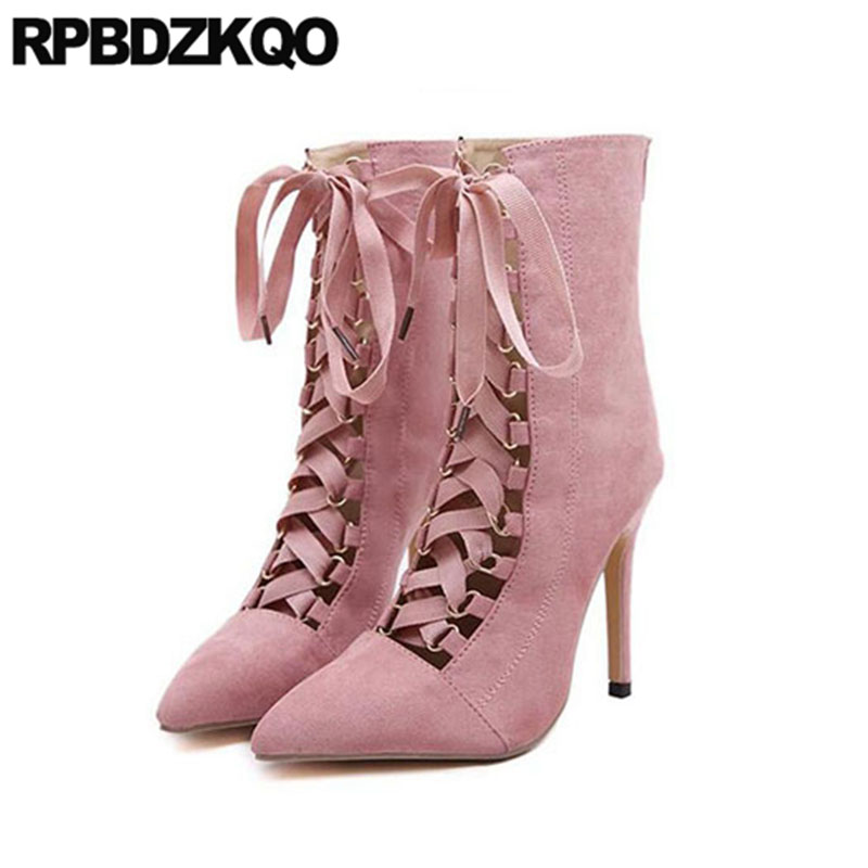 Pointed Toe Sexy Front Lace Up Casual Ankle Boots Autumn High Heel Fetish Shoes Suede Stiletto Roman 2017 Pink Strange Female booties combat lace up flat suede round toe fall military front casual ankle boots autumn work women shoes gray low heel 2017