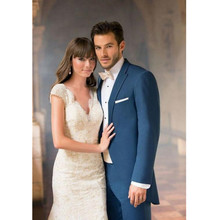 new Men's suits, handsome blue groom suits tailcoat lapel single groomsman suits prom suits (jacket+pants)