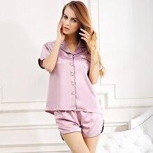 2017 Women Nightgowns Sets short Sleeve Sleepwear Homewear pajamas silk two-pieces sleep shirt casual night gown