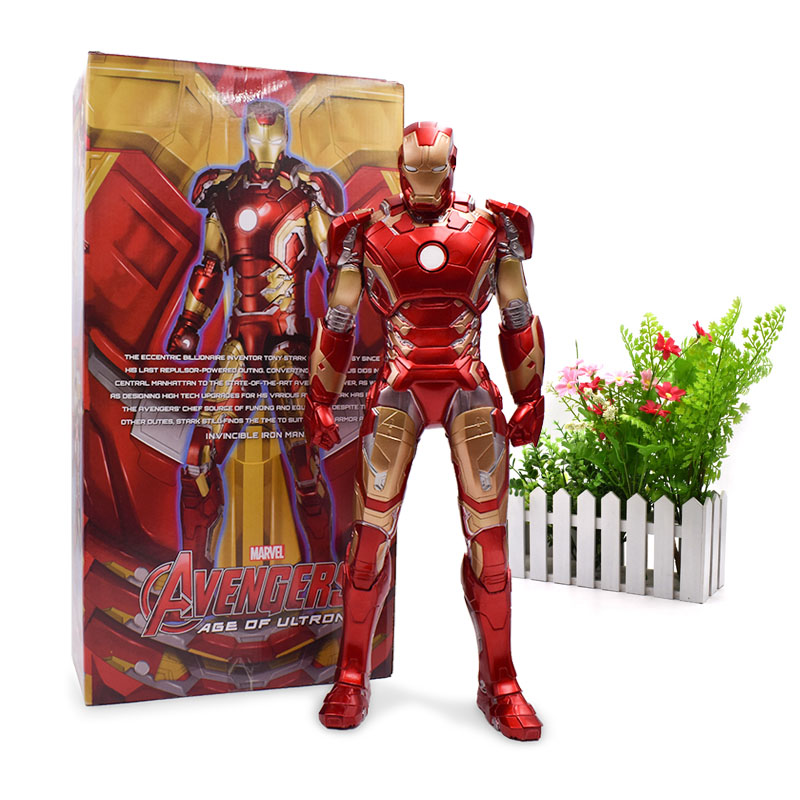 45 cm Iron Man Red MK7 Movable Joints Tony Stark Mark Action Figure PVC Collectible Model Toy Christmas Gift For Children soccerwe dolls figurine football stars 17 18 7 c ronaldo movable joints resin model toy action figure dolls collectible gift