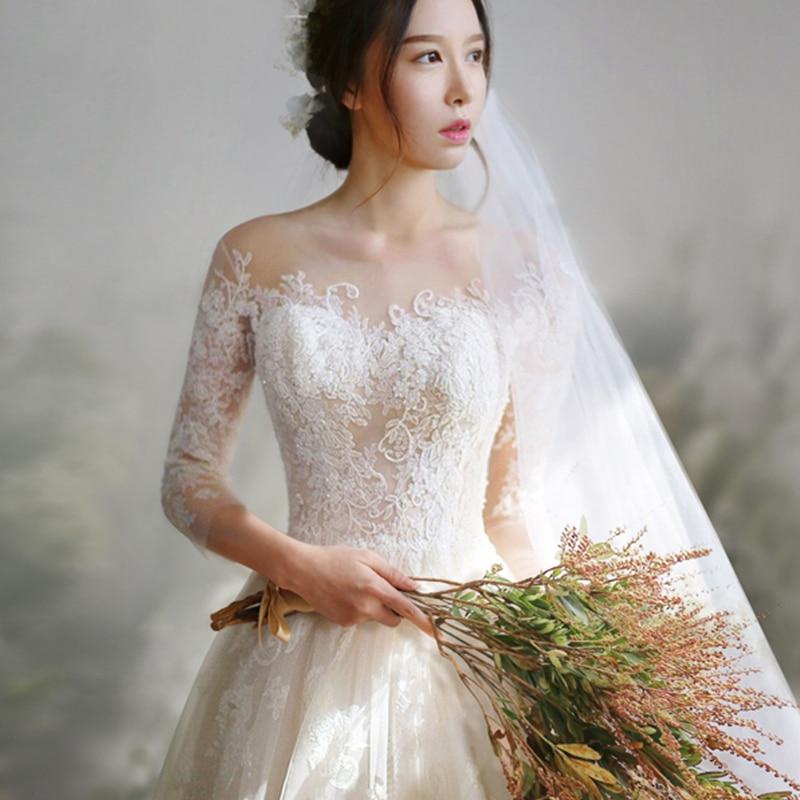 Vintage Three Quarter Length Wedding Dresses: 2019 Wedding Dress Lace Three Quarter Sleeves Sweep/ Brush