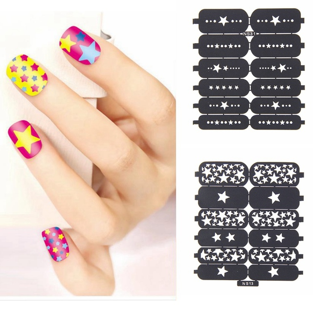 NS06-NS42 Total 16/17 unids 2016 De Diseño Hueco de La Plantilla Pegatinas Belleza Tatuajes de Uñas de Arte Polaco Multiuso Color Corte muchos Estilo