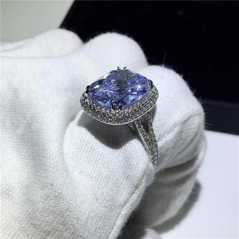 แหวน 925 เงินสเตอร์ลิงตัด 8ct AAAA CZ หรูหราแหวนหมั้นแหวนนิ้วมือเจ้าสาว PARTY เครื่องประดับ