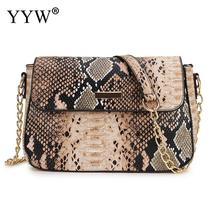 New Fashion Small Snake Print Flap Shoulder Bag Female Pu Leather Chain Crossbody Bags For Women
