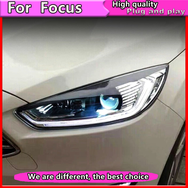 Car Styling Assembly for Ford Focus 2015-2018 LED  Headlights  DRL Lens Double Beam Bi-Xenon HID Dynamic turn signal