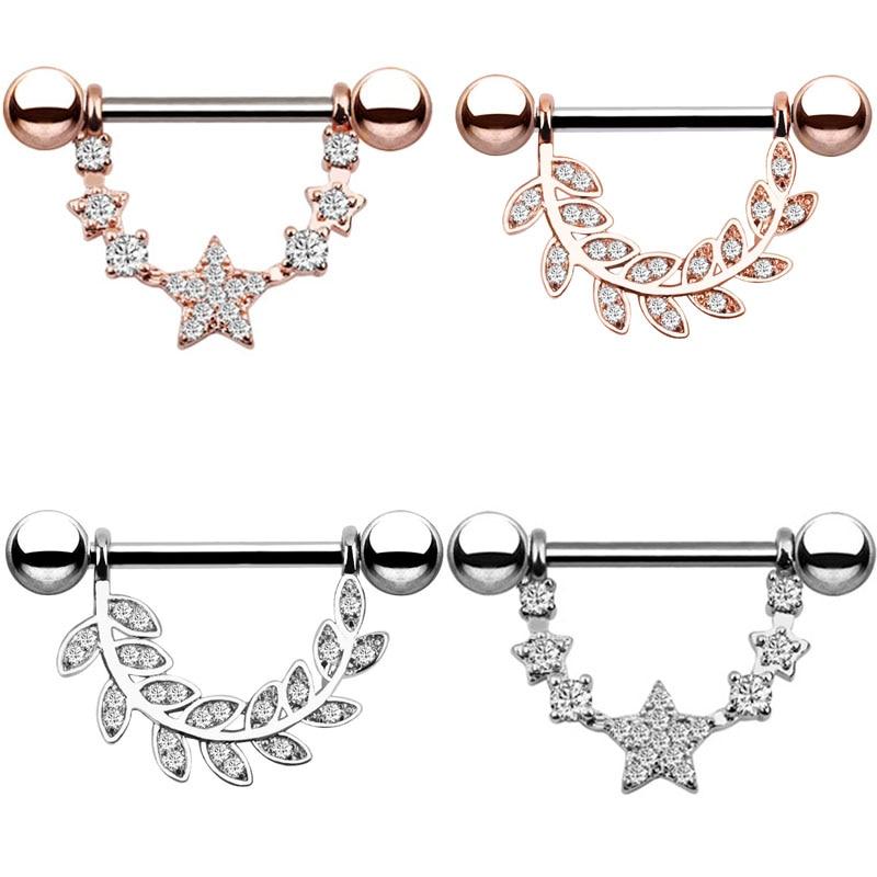 316L Surgical Steel 2pcs Nipple Piercing Body Piercing Piercing Big Zircon Rings Body Jewelry