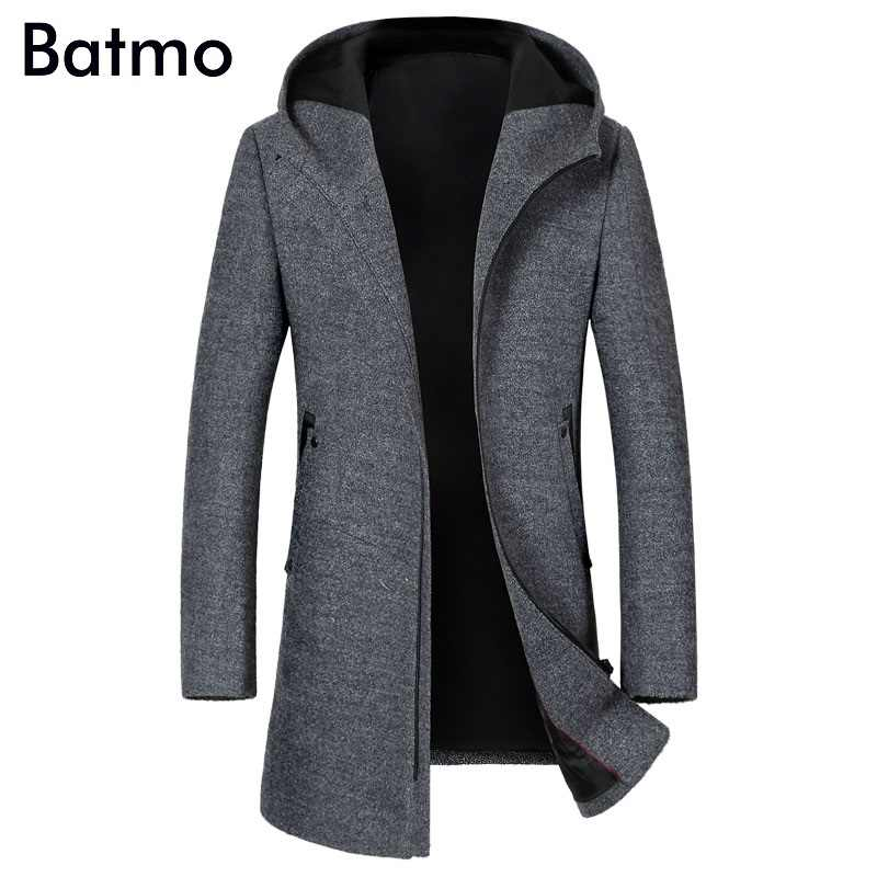 BATMO 2019 new arrival autumn&winter high quality wool hooded gray trench coat men,men's wool jackets,winter coat 1812