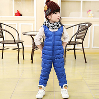 Baby Girls Winter Down Pants Children Outerwear Thicken Jumpsuits Overalls White Duck Down Pant Kids Warm
