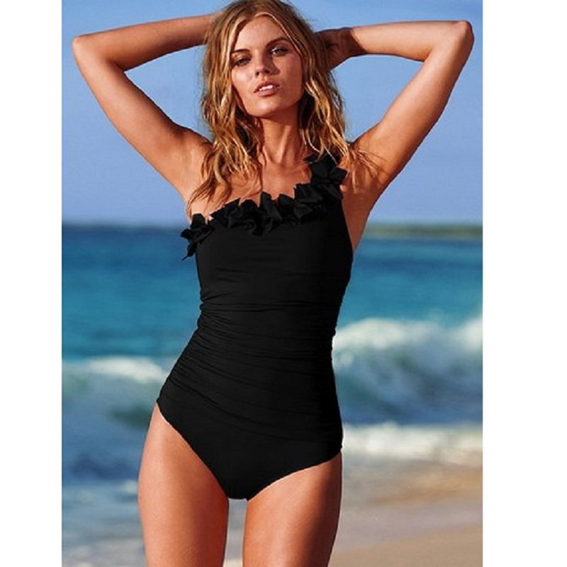 Women One Piece Swimsuit Plus size Swimwear flouncing Mesh One Shoulder Bathing suit oversize female Monokinis Beachwear water plus size scalloped backless one piece swimsuit