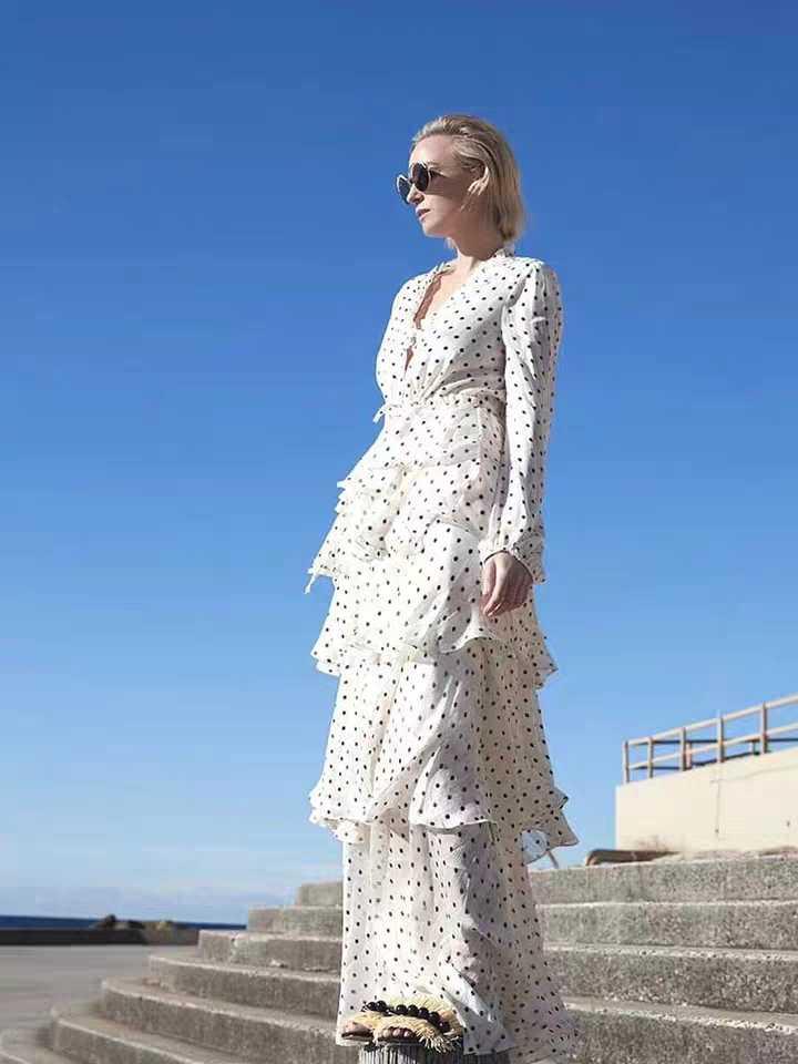 New Autumn Runway Designer Women Wave Point Ruffles Layered Dress Female V Neck Long Sleeve Elegant