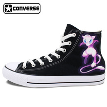 Original Converse Chuck Taylro Men Women Sneakers Pokemon Mew Mewtwo Design Hand Painted High Top Canvas Shoes Boys Girls