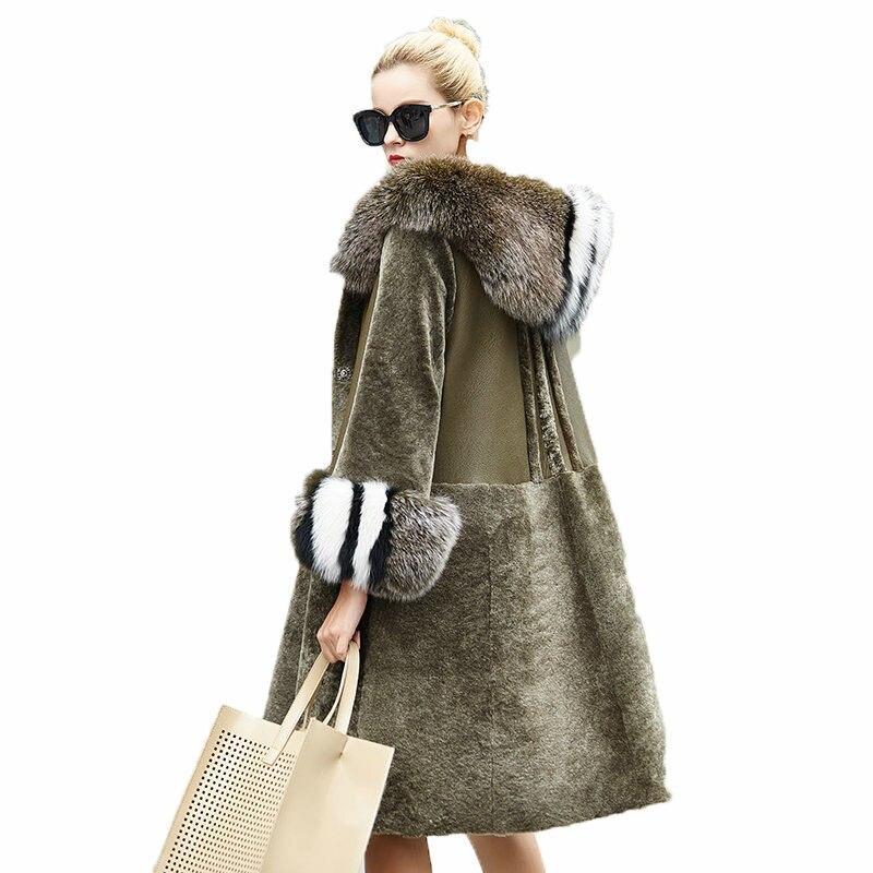 Manteau d'hiver Femmes Vêtements 2018 Réel Manteau De Fourrure Mouton Mouton Fourrure Coréenne Fourrure De Renard À Capuche Double-face De Fourrure Laine veste ZT854