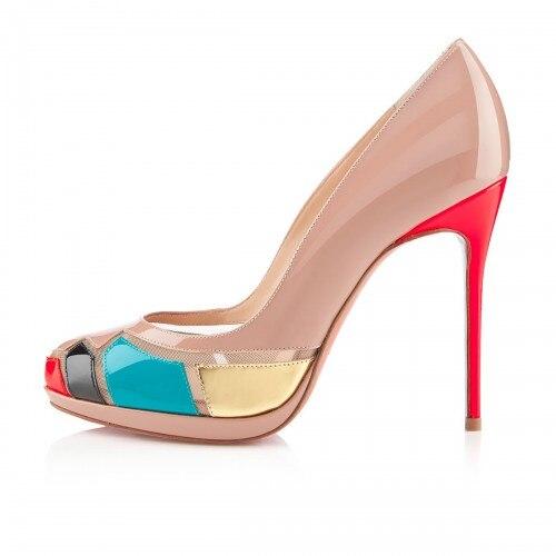 ef2426f1788e Nude Patent Leather Women Pumps Open Toe Platform Red Heels Custom Nude  Bottom Shoes Women Stilettos OL Shoes Women Pumps Shoes