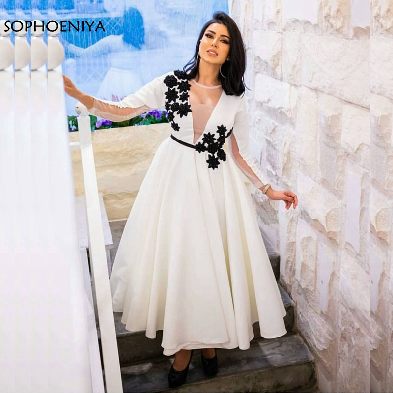 New Arrival Long sleeve   evening     dress   Short   Evening   gowns 2019 Black Lace Appliques Formal   dress   Party abiye robe de soiree
