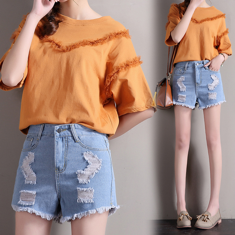 Summer 2019 Korean Version of The New High Waist Hollow Jeans Shorts