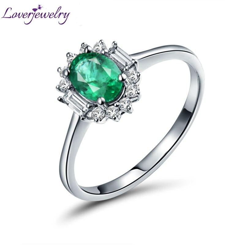 Loverbijoux 0.88Ct émeraude classique bague diamant bijoux Vintage ovale 5x7mm émeraude coupe anneaux solide 14kt or blanc femmes bague