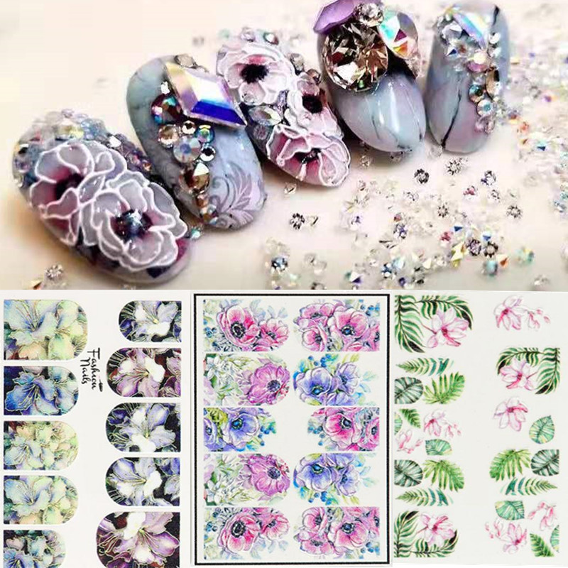 1Sheet 3D DIY Nail Art Transfer Decals Stickers Flower Beauty Manicure Design Tool  Acrylic Engraved Floral Sticker