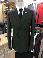 men suits green Double breasted Groom Tuxedos Groomsmen Wedding Suits (Jacket+Pants) suit men 2 piece man suit slim fit