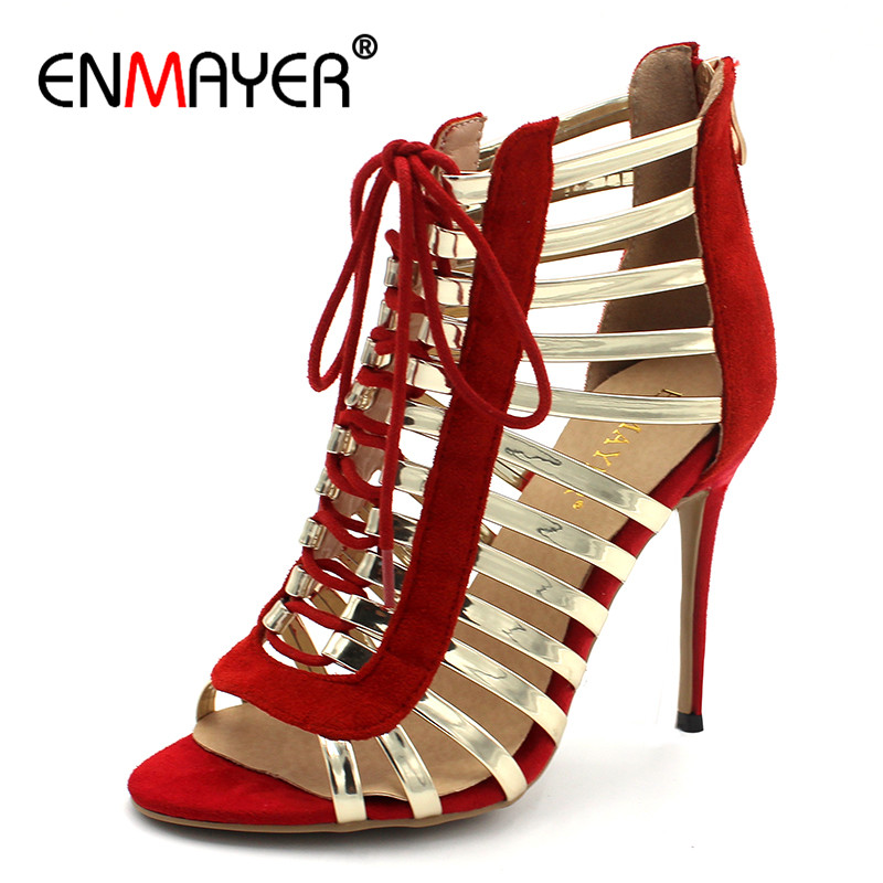 ENMAYER Gladiator Summer Sandals Shoes Woman High Heels Cuts-out Zipper Lace-up Peep Toe Plus Size 33-43 Sandals Shoe
