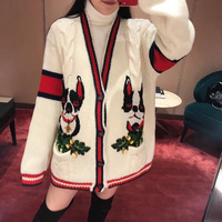 New sweater winter red and black colours stereo twist knitting cardigan rice white puppy embroidered coat