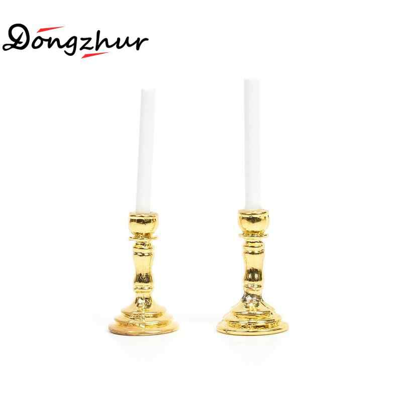 Dongzhur Dollhouse Miniature 1:12 Accessories Gold Single Candlestick 1 Pair Mini Candle Holders Doll House Furniture Dropship