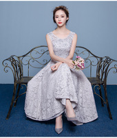 Grey Lace Formal Evening Dresses A Libe O Neck Appliques Short Sleeve Floor Length Long Prom