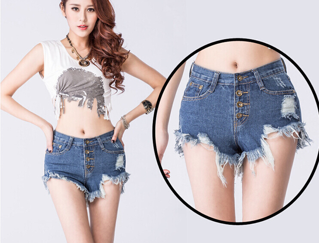 Лето лоскутное кисточкой джинсовые шорты женские высокой талией шорты этническая punk шорты feminino чешские белый синий шорты женщин