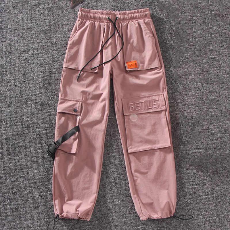 Outono streetwear calças femininas bordado calças de carga casual mulheres corredores sólido grande bolso calças de cintura alta solto calças femininas