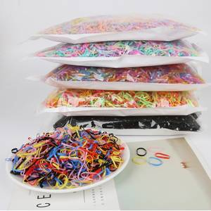 1000PCS Disposable Colorful Elastic Hair Band Bezel For Kids Girl Hair Accessories Scrunchy Gum For Hair Rubber Band