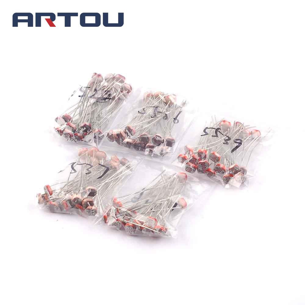 100pcs 5mm Photosensitive Resistors Assortment Kitgl5516 Gl5528 Circuit The Relay Switch 4 7k 9v As Aug Ldr Circuits A To Light Gl5537 Gl5539 Gl5506 Dependent Resistor Each 20pcs In From Electronic