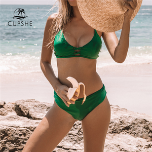Cupshe Green Solid Bikini Set Women Push Up Cut Out Plain Two Pieces Swimwear 2020 Beach Strappy Sexy Bathing Suit Swimsuits