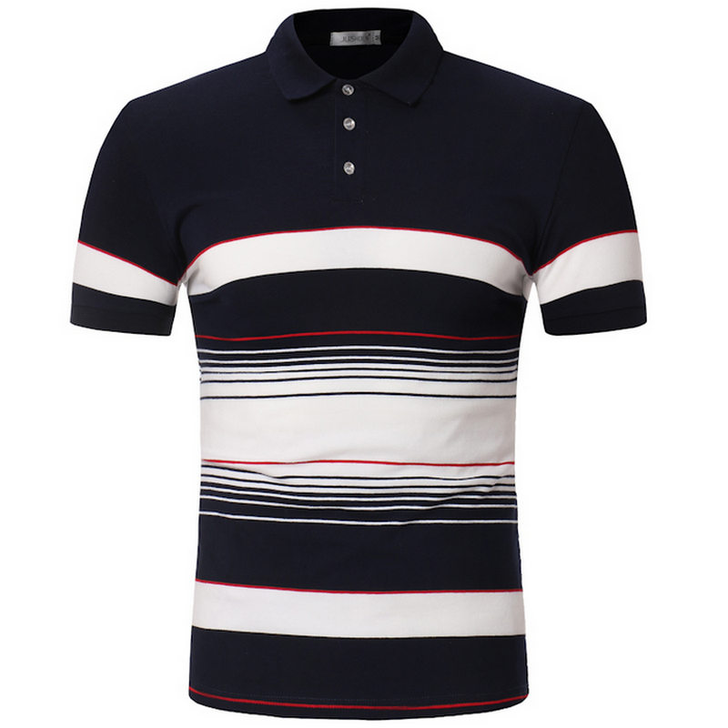 100% Cotton camisa Men   Polo   Shirt 2019 Casual Striped Slim short sleeves ASIAN SIZE M-3XL