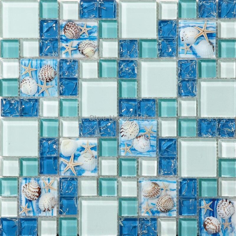 Novi! plava boja kristalno staklo miješan mozaik morske školjke za - Kućni dekor - Foto 3