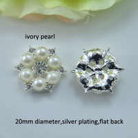 (J0295) 20mm diameter metal rhinestone button without loop,silver plating,ivory or pure white pearl