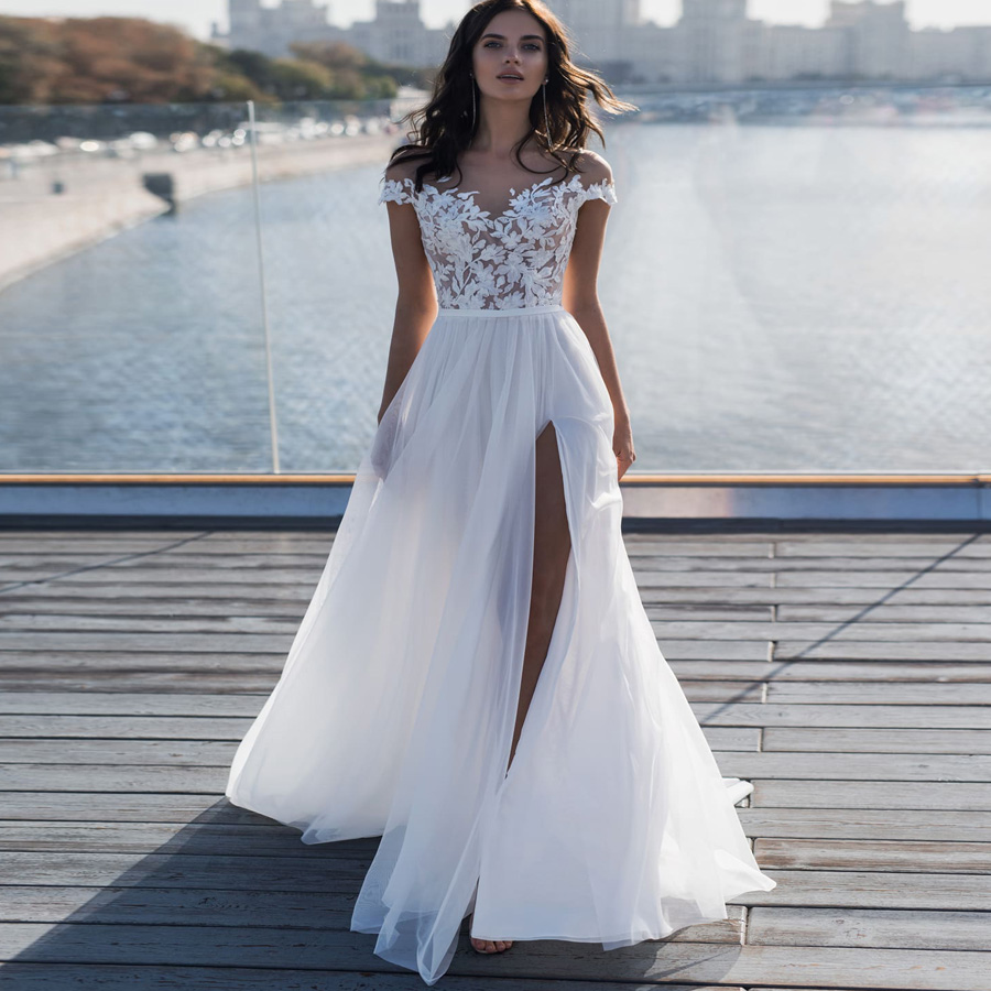 Weilinsha Boho Beach Wedding Dresses Off the Shoulder Sleeveless Applique Side Slit Bridal Gowns Robe De