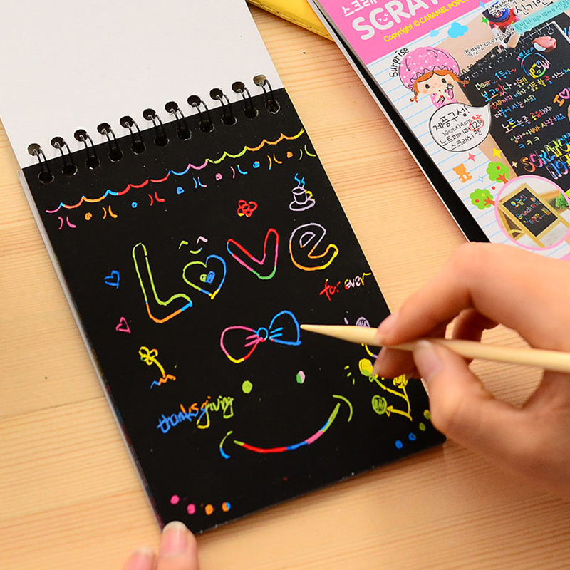 Drawing Paper DIY Painting Educational  Children Toys New Fun Doodling Scratch Halloween Colorful Black Wood StickDoodling Toys(China)