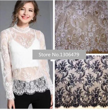 3M/pieces Beautiful  Eyelash Lace Fabric Diy Exquisite Lace Embroidery Clothes Wedding Dress Accessories RS1151