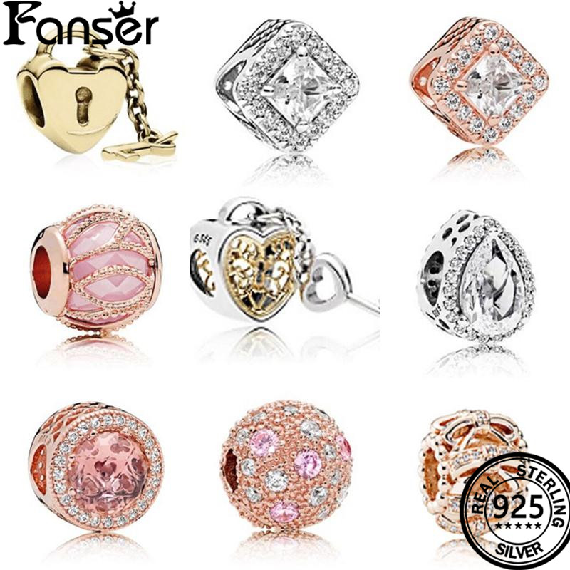 FANSER DIY Bead Accessories Pandor Geniune 925 Pure Silver Original Copy Geometry series Suitable Women Bracelet Jewelry