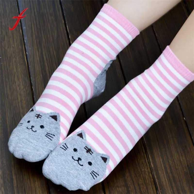 Новые дизайнерские милые носки с котами из мультфильма, полосатые женские Носки с рисунком кота, хлопковые носки для пола, зимние 3D носки Прямая поставка