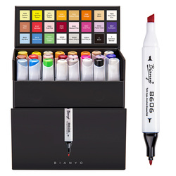 Bianyo 24Colors Pen Marker Set Dual Head Alcohol Based Sketch Markers Pen for Art Drawing Manga Comic Design Stationery Supplier