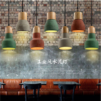 Simple Restaurant Small Droplight Creative Colorful Cement Wood Vintage Pendant Light