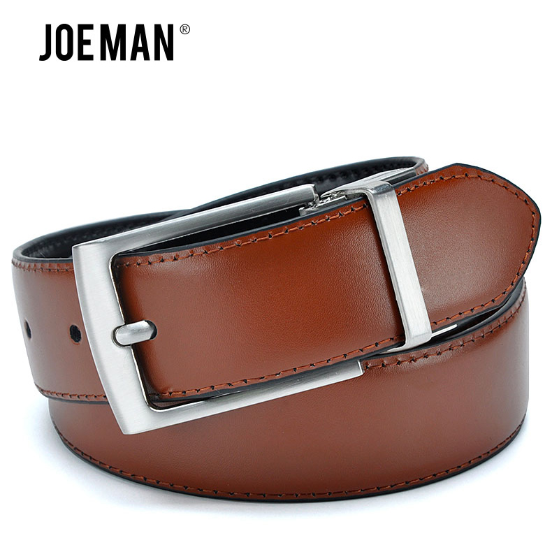 Revolvable Buckle Belts For Men Luxury Design Leather Belts High Quality Brown Color And Black Color On The Belt