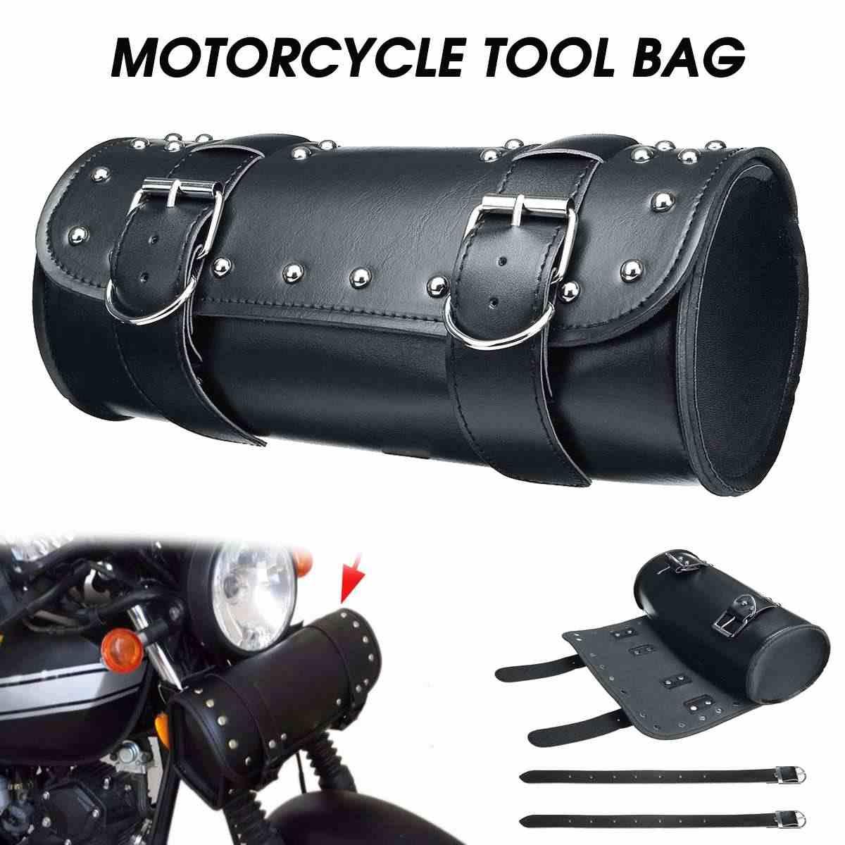 Uniwersalny czarny narzędzie motocyklowe torba przedni widelec kierownica Saddlebag Roll Barrel dla harley bobber Racing Tail kufer w kształcie beczki